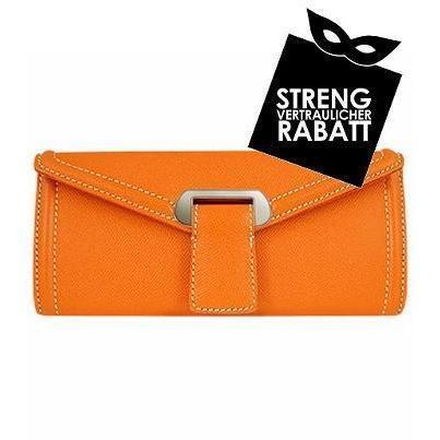 Buti Orange Clutch aus geprägtem Leder in Kuvertform