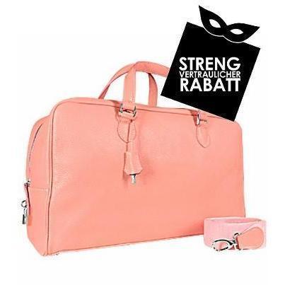 Buti Rosafarbene große Reisetasche aus weichem Kalbsleder