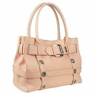Buti Rosafarbene Handtasche aus geprägtem Leder mit Schnalle