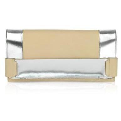Calvin Klein Collection Clutch aus Leder in beige mit Schmuckverzierung