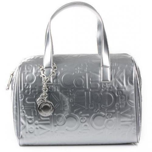 Calvin Klein Satchel Logo Silver