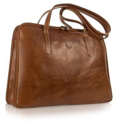 Chiarugi Handgearbeitete Business-Tasche aus echtem italienischem Leder in braun