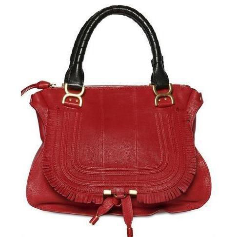 Chloé - Grained Leder Marcie Handtasche Mit Fransen