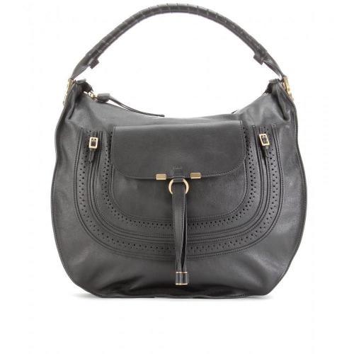 Chloé Marcie Large Ledertasche Mit Lochperforation Black
