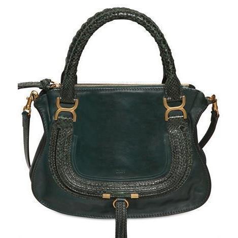 Chloé - Medium Marcie Leder Python Handtasche