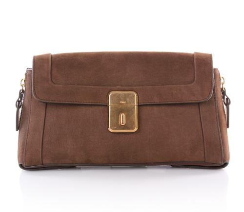 Chloé Clutch Dark Brown Velours