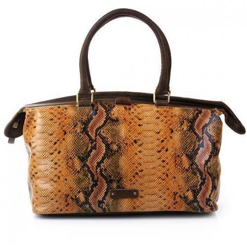 Claudio Ferrici Python Zip Frame Bag Multi Mustard