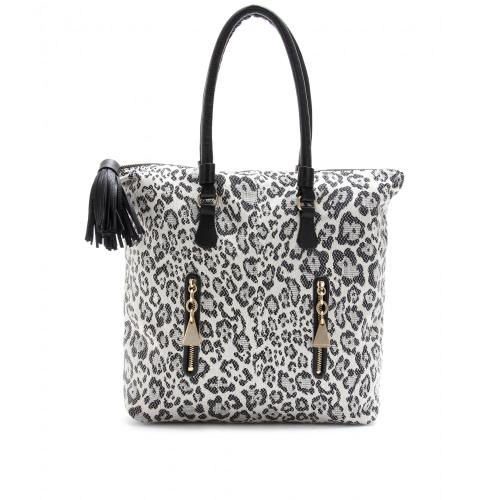 See by Chloé Shopper Canvas mit Animalprint Weiß