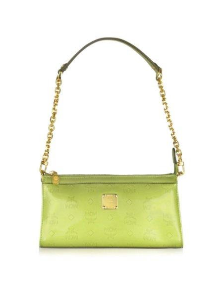MCM Ivana Patent - Clutch aus Leder in grün lackiert