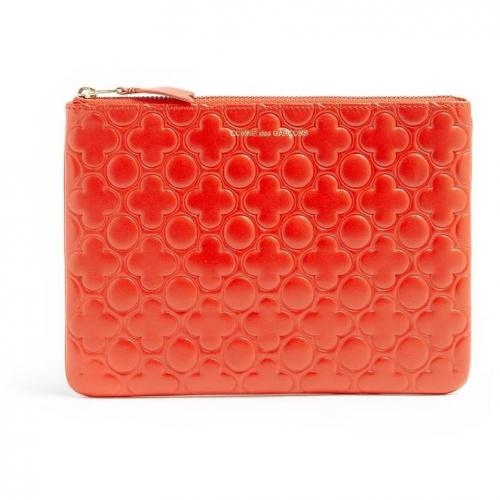 Comme des Garcons Embossed Flower Leather Clutch