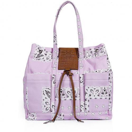 D&G Dolce & Gabbana Lilac Printed Canvas Bag