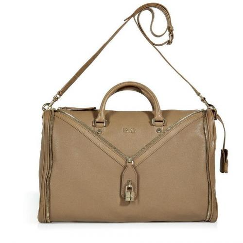 D&G Dolce & Gabbana Taupe Leather Tote with Shoulder Strap