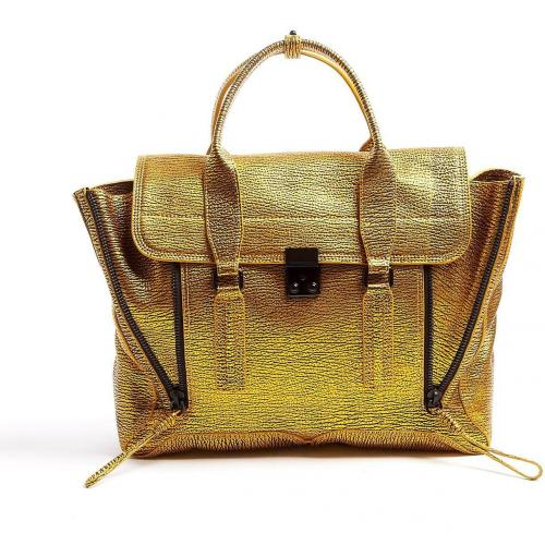 3.1 Phillip Lim Gold Embossed Calf Leather Pashli Satchel