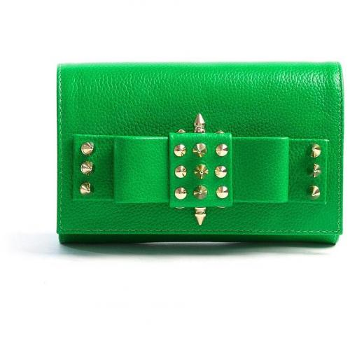 AILA Green Palm Spike Clutch with Gold Plated Studs