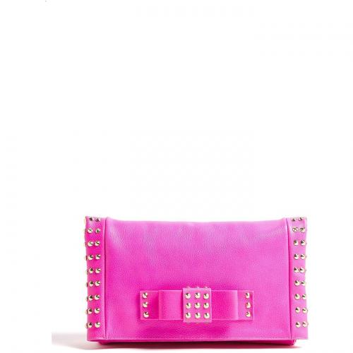 AILA Neon Pink Folded Over Bow Clutch with Gold Plated Studs