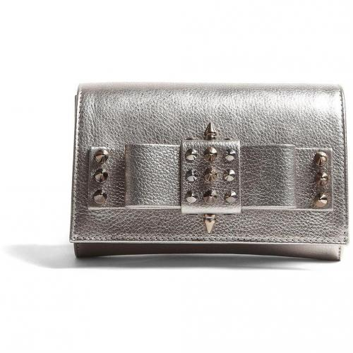 AILA Silver Palm Spike Clutch with Silver Studs