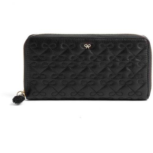 Anya Hindmarch Black Bow Embossed Leather Large Wilkes Purse