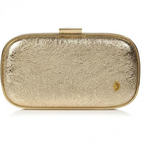 Anya Hindmarch Gold Crinkle Leather Marano Music Box Clutch