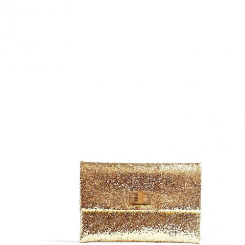 Anya Hindmarch Gold Glitter and Leather Valorie Clutch