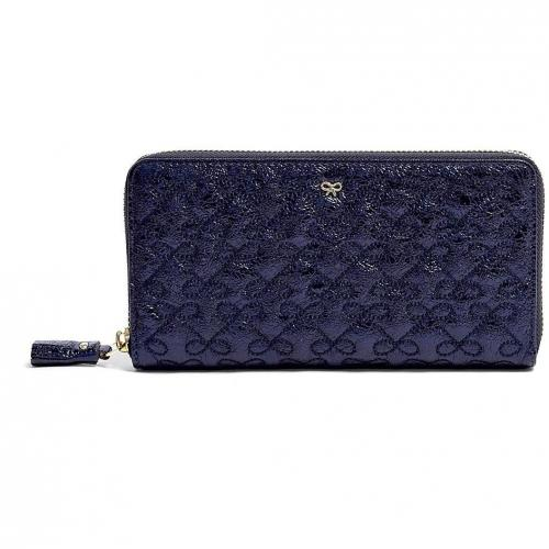 Anya Hindmarch Midnight Blue Crinkle Leather Large Wilkes Purse
