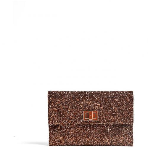 Anya Hindmarch Toffee Metallic Glitter and Leather Valorie Clutch