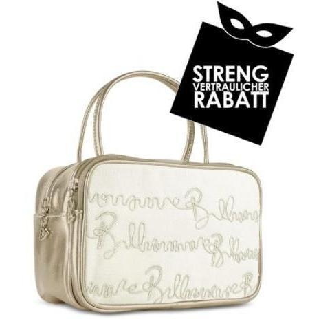Billionaire Handtasche im Bowlingstyle mit Logo in weiss & bronze