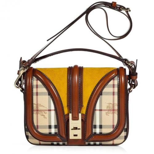 Burberry London Butternut Leather Trimmed Crossbody Bag
