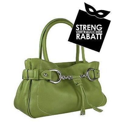 Buti Italienische Lederhandtasche mit Trense in grün