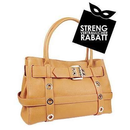 Buti Kamelfarbene Handtasche aus geprägtem Leder mit Schnalle