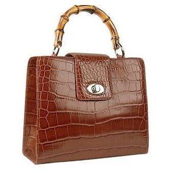 Buti Kompakte Handtasche aus braunem Leder mit Krokoprägung