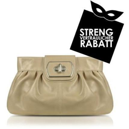 Buti Twistlock-Clutch aus echtem Leder in beige