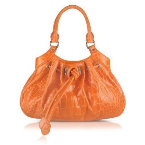 Buti Umhängetasche aus krokogeprägtem Leder in orange