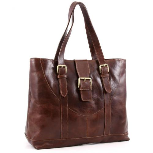 chiarugi classic shopper leder braun designer handtaschen paradies it bags burberry gucci. Black Bedroom Furniture Sets. Home Design Ideas