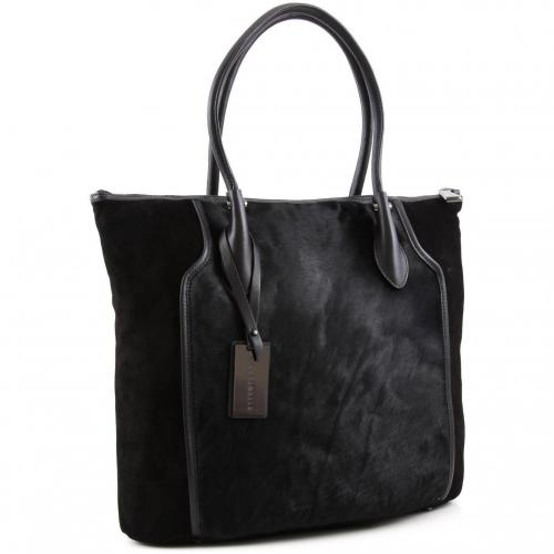 Coccinelle Rose Pony Shopper Leder schwarz