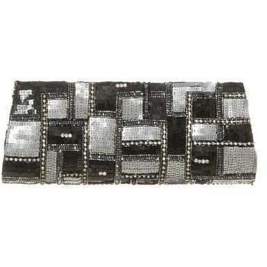 deepa gurnani clutch schwarz silber designer handtaschen. Black Bedroom Furniture Sets. Home Design Ideas