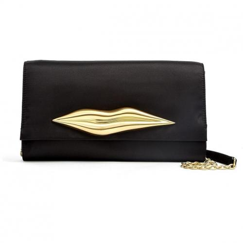 Diane von Furstenberg Carolina Gold Lips Satin Clutch