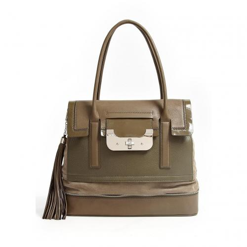 Diane von Furstenberg Green Harper Laurel Leather Tote Bag