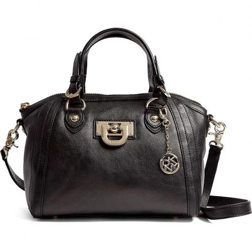 DKNY Black Heritage Leather Top Zip Tote