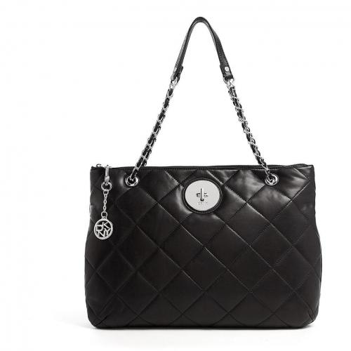 DKNY Black Quilted Leather Tote Bag