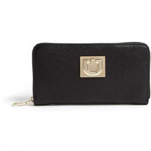 DKNY Black Vintage Leather Zip Around Wallet