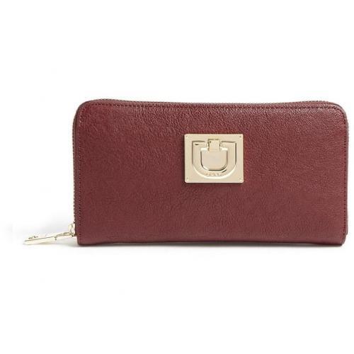 DKNY Burgundy Vintage Leather Zip Around Wallet
