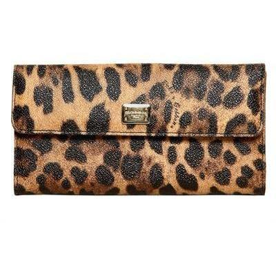 Dolce & Gabbana - Leopard Druck Pvc Continental Brieftasche