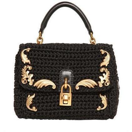 Dolce & Gabbana - Mini Dolce Crochet Baumwoll Umhängetasche