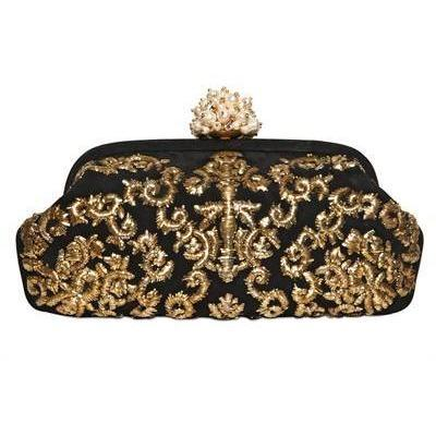 Dolce & Gabbana - Miss Dea Bestickte Wildleder Clutch