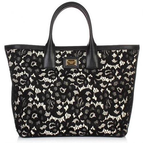 Dolce&Gabbana Schultertasche mit schwarzer Spitze