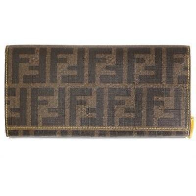 Fendi - Zucca Piu' Kalbsleder Brieftasche Brown Yellow