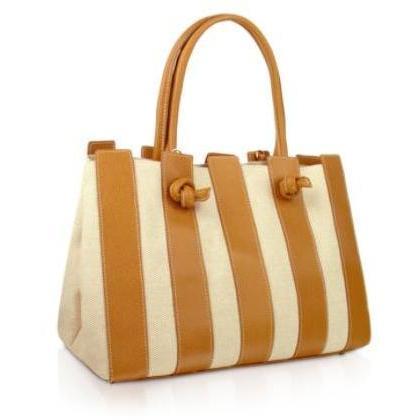 Fontanelli Handtasche aus Baumwollcanvas & italienischem Leder