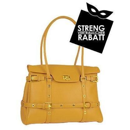 Fontanelli Kamelfarbene Handtasche aus Kalbsleder mit Schnallen