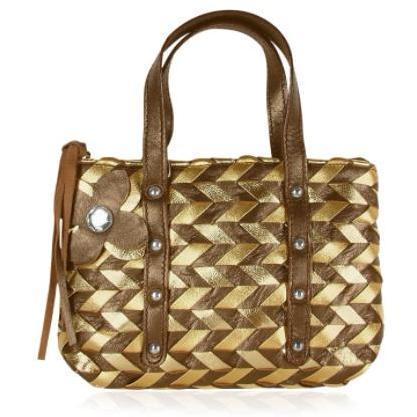 Fontanelli Minihandtasche aus italienischem Leder gewoben in braun & gold