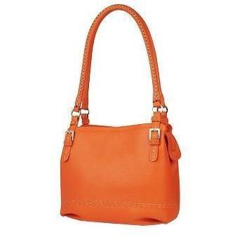 Fontanelli Orange Eimer-Tasche aus weichem Leder mit Ziernähten